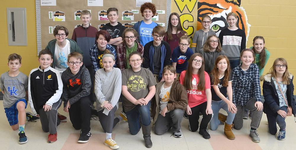 WCMS ACADEMIC TEAM members are, from left, front, JB Martin, Logan Ford, Carson Probst, Lola Mason, Savannah Washburn, Cody Lyons, Serenity Adams, Laurel Ruff, Molly Elmore and Anna Adkins; middle, Dawson Akers, Ina Mason, Afton Skeeters, Patrick Rardin, Alexandre Antoine, James Sikorski and Addie Patterson; and back, Dalton Wells, Conor Bybee, Carter Ishmael, Liberty Parzyszek, Grace Taylor and Samara Miller. Not pictured are Luke Cissell and Ty Johnson. (Photo by Bob Vlach)