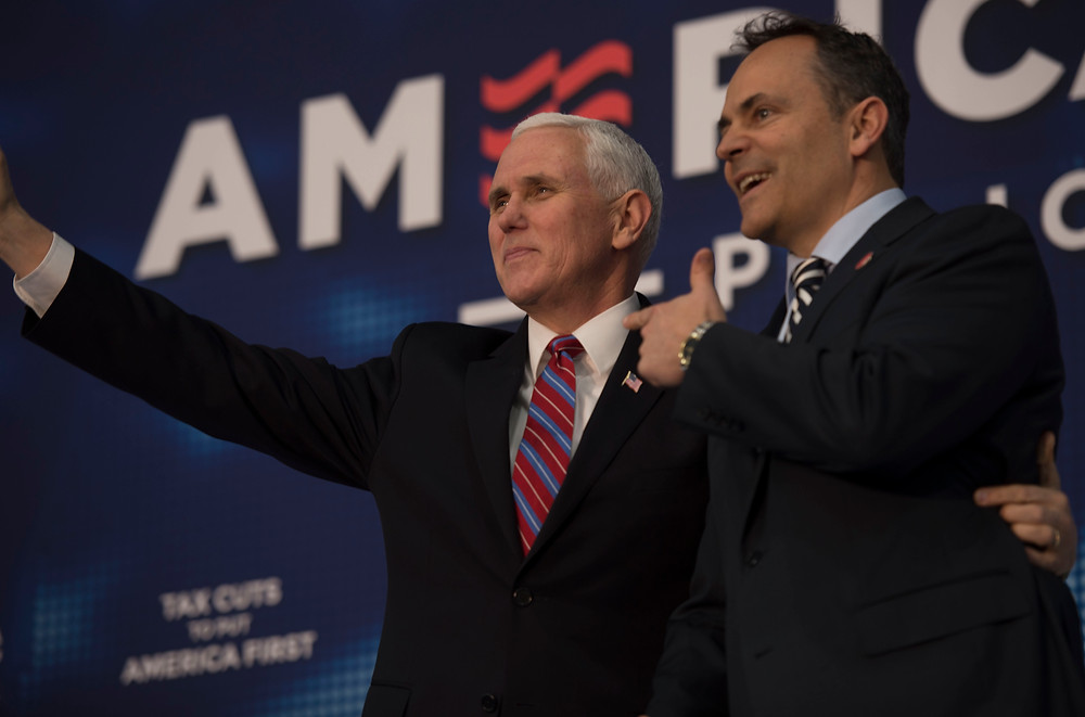 VICE PRESIDENT MIKE PENCE was introduced by Gov. Matt Bevin at a GOP rally Wednesday, March 7, at More Than A Bakery. The event was designed to promote tax cuts and other Trump Administration policies as well as the reelection campaign of U.S. Rep. Andy Barr, whose district includes Woodford County. (Photo by Isabel Brinegar)