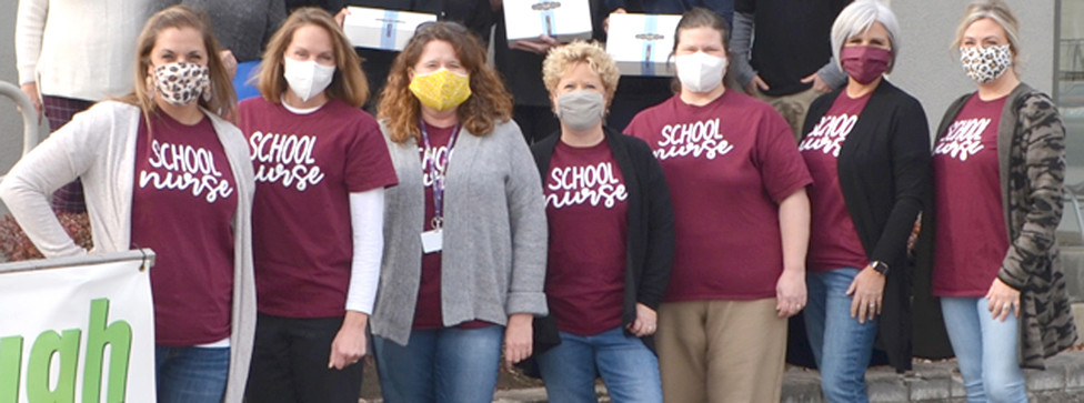 WOODFORD COUNTY PUBLIC SCHOOLS nurses, from left, are Jennie Christopher, Erin Gordon, Hope Woodcock, district Health Coordinator Kelly Simpson, Michelle Hinman, Robin Reed and Ashley Griffin. (File photo by Bob Vlach)