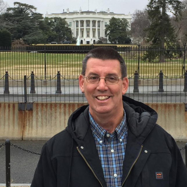 """MARK SIMS, a lifelong Versailles resident, drove to Washington, D.C., with his uncle to witness the inauguration of President Trump. With tickets from the office of Senate Majority Leader Mitch McConnell, they were able to get within a few hundred yards of the ceremony. """"It was just great to be an American at that moment,"""" Sims said. (Photo submitted)"""