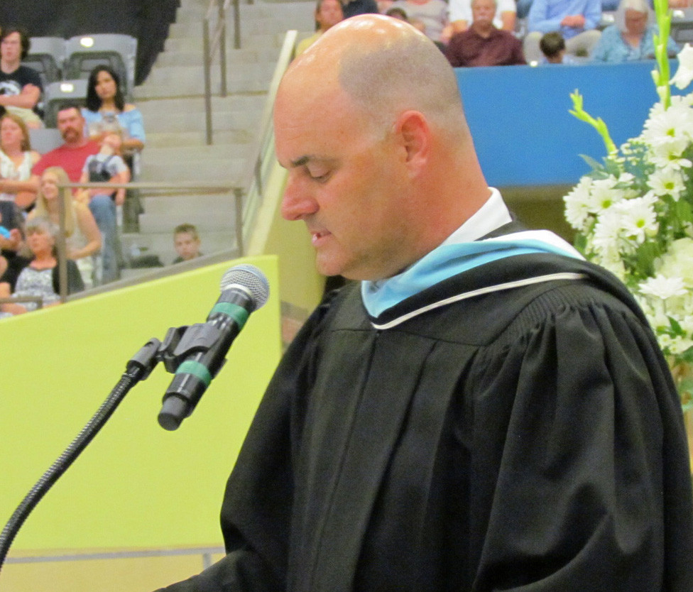WCHS PRINCIPAL Rob Akers spoke at what turned out to be his final commencement ceremony May 26 at Alltech Arena. He said the senior class of 2018 was the highest-achieving in the history of the school and reminded the soon-to-be graduates that the best leaders are empathetic. (File Photo)