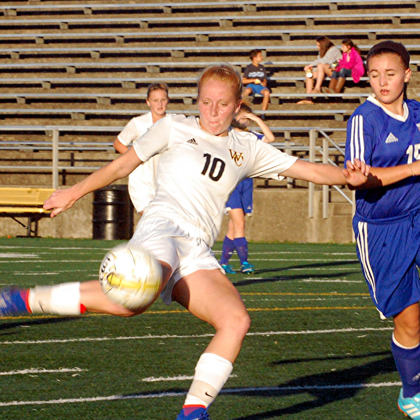 SHELBIE MORRISON scored one goal to help Woodford score a 10-0 mercy rule win over Frankfort in the opening round of the 41st District tournament. (Photos by Rick Capone)