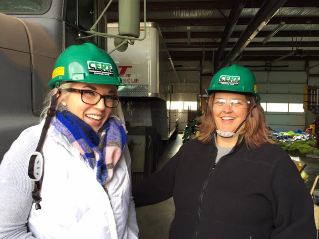CERT trainees Maria Kinney, left, and her mother, Linda Flora, took part in last fall's Community Emergency Response Team training at the Versailles Fire Station on Huntertown Road. (Photo submitted)