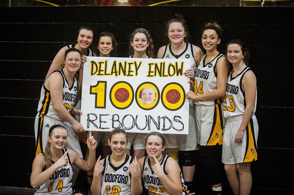 WCHS SOPHOMORE DELANEY ENLOW grabbed her 1,000th rebound on Thursday, Feb 1 in the Lady Jackets' win over Western Hills. Enlow was presented with a ball prior to the game to commemorate her 1,000th point scored. Enlow said that she was unaware how close she was to the miletone for rebounding. (Photo by Bill Caine)