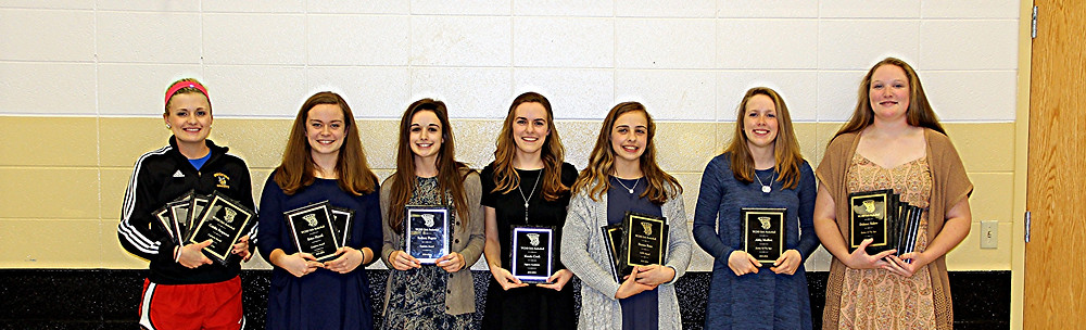 THE 2015-16 WCHS girls' basketball team award winners, left, posed for a photo after their banquet on Monday, March 14. The award winners shown are, from left, Caitlin Ferguson, Erica Hysell, Sydney Fugate, Kassie Cook, Peyton Rose, Abby Moffett and Delaney Enlow. Moffett, right, along with Enlow, was named Rookie of the Year. (Photo submitted)