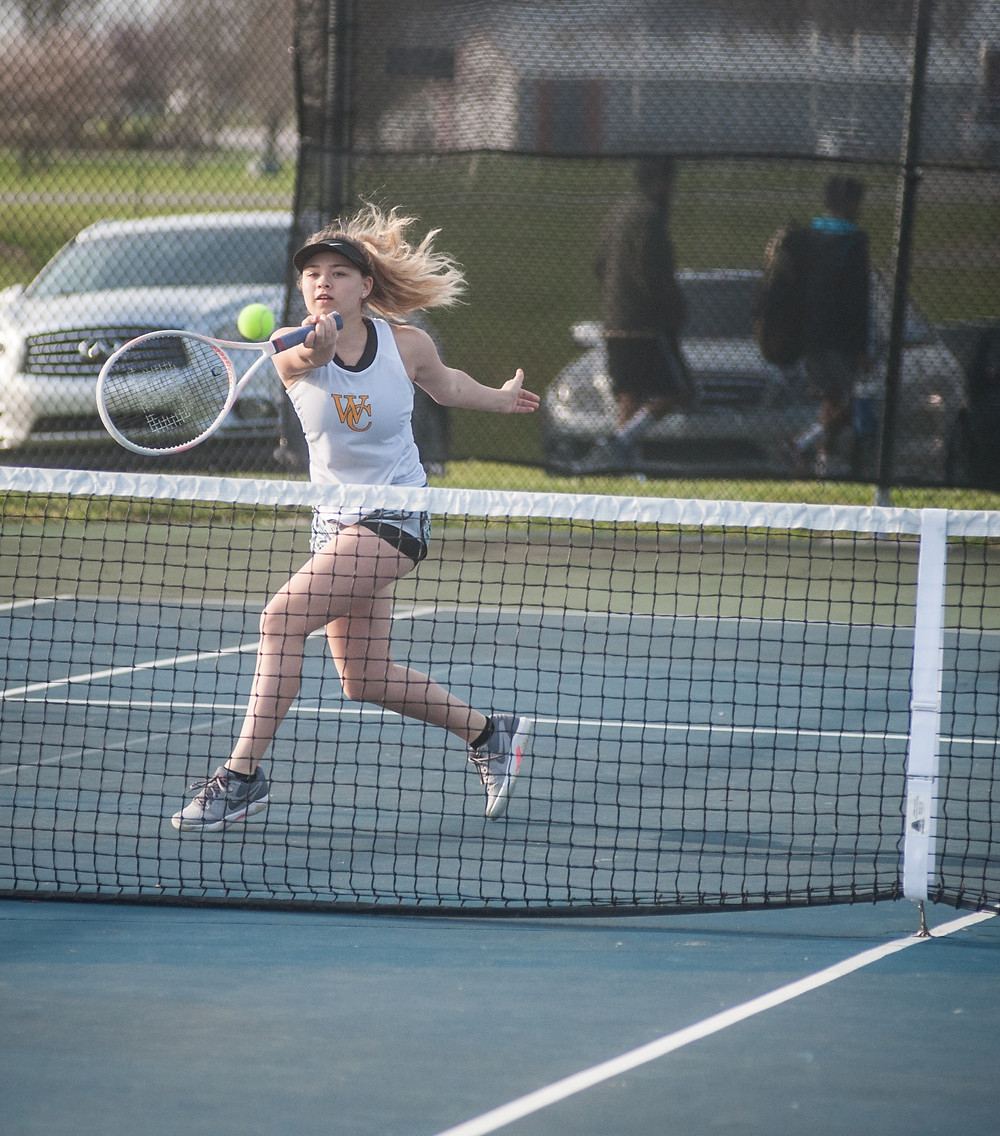 WCHS SOPHOMORE NICOLE FELDNER and sister Alyssa, won (6-0, 6-0) in doubles over Anderson County on Tuesday, May 1. (Photo by Bill Caine)