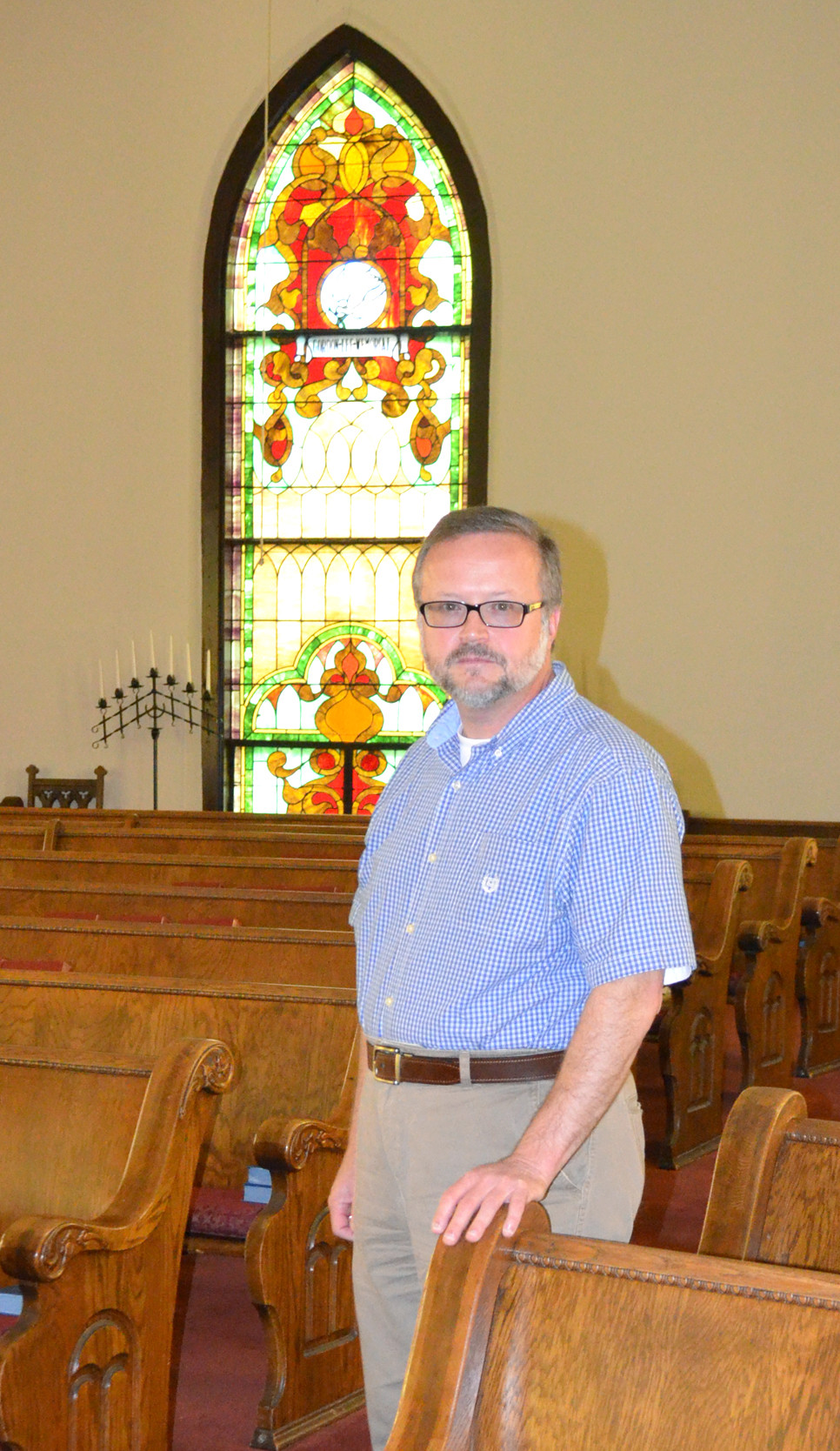 THE REV. JERRY L. UTT II officially began his duties as pastor at Troy Presbyterian Church March 1. His installation service is this Saturday, June 8, beginning at 4 p.m. at Troy Presbyterian Church, 11021 Troy Pike. (Photo by Bob Vlach)