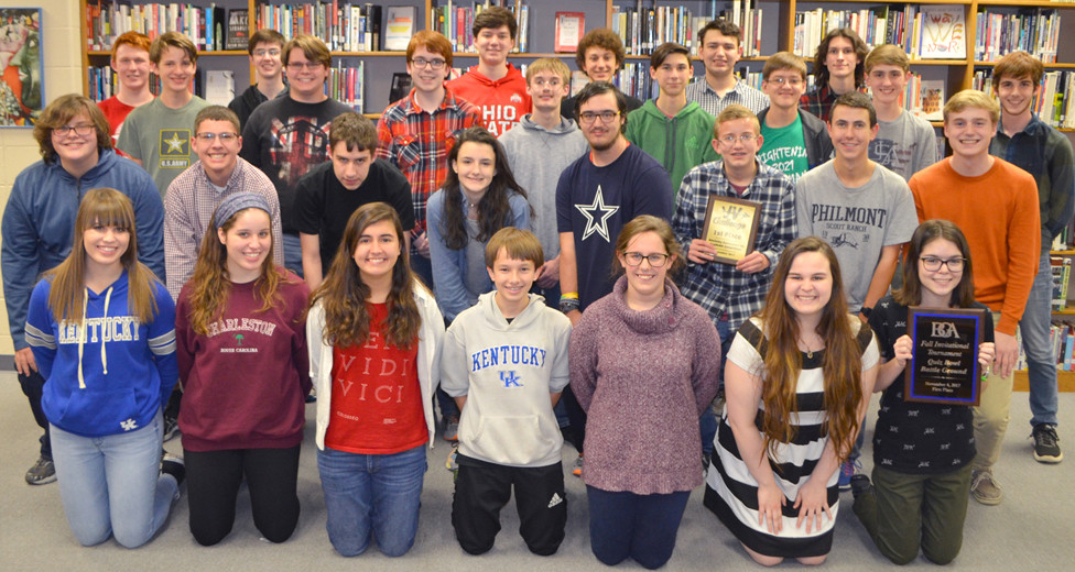 WCHS ACADEMIC TEAM members are, from left, front, Savannah Karbach, Sarah Karbach, Claire Pinkston, Colin McGowan, Kathryn Whitaker, Emily Brookfield and Sarah Potts; second row, Alfie Painter, Trevor Wells, JC Dyer, Olivia Raybourne, James Batts, Keaton Martin, Shaun Lavin and Sam Eagen; third row, Jarom Bradshaw, Connor Akers, Derek Forte, Kyle Silbereisen, Joshua Zeefe, Nathan Jackson, Aidan Bottom and Wesley Forte; and back, Cayce Jones, Sam Hite, Logan Craig, Joe Kowalke and Caleb May. Not pictured are Seth Allen, Logan Curtis and Avery Schanbacher. (Photo by Bob Vlach)