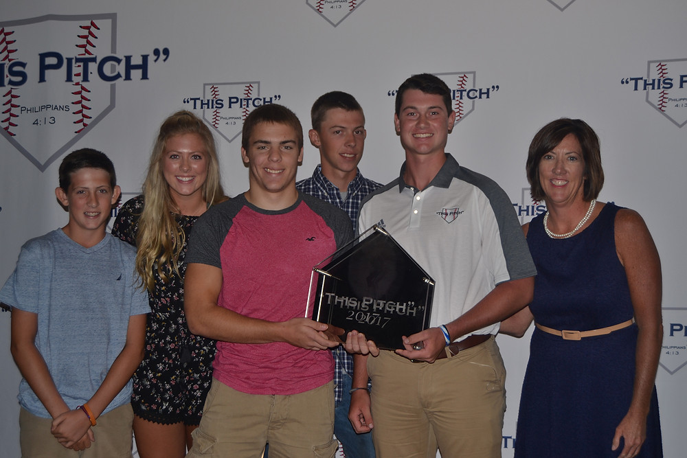 "PARKER THOMAS poses with the Logdon family at the ""This Pitch"" Awards night. From left are Jono Logdon, Emily Mattingly, Austin Logdon, Kyle Logdon, Parker Thomas and Angela Logdon. (Photo submitted)"