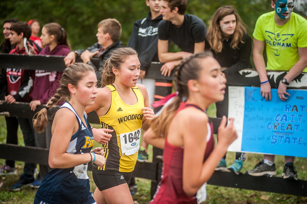 KATIE GATEWOOD runs in the KHSAA Class 3A state championship 5K race on Saturday, Nov 4 at the Kentucky Horse Park. (Photo by Bill Caine)