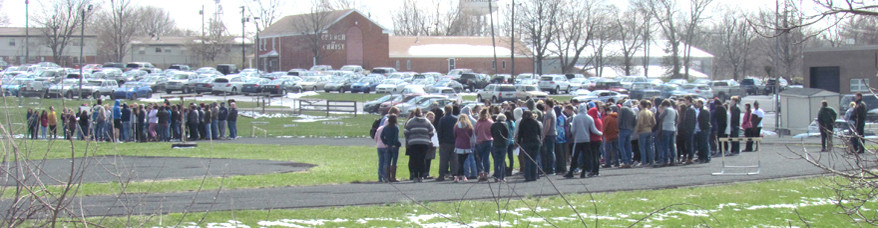 A MEMORIAL WALKOUT was held at Woodford County High School last Wednesday, March 14 – exactly one month after a mass shooting at Stoneman Douglas High School in Parkland, Fla., claimed 17 lives. (Photo by John McGary)