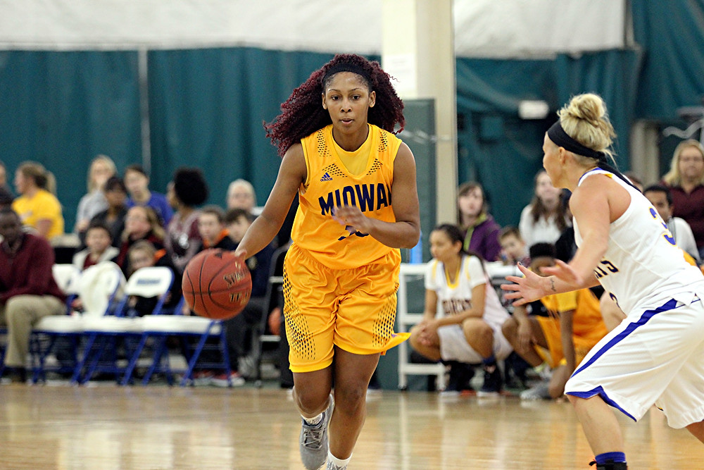 TIMITRYI PATTERSON, a freshman on the Midway University women's basketball team, came off the bench and led the Eagles with 20 points to help her team score a 67-59 road win over Kentucky Christian University on Saturday, Dec. 10. (Photo courtesy of Midway Univ. Athletics)