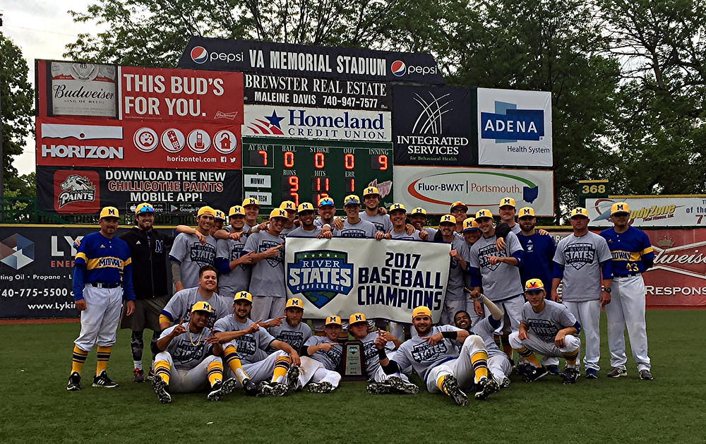 RSC CHAMPIONS. The Midway University baseball team celebrates winning the 2017 River States Conference Baseball Tournament Championship in just its first year as a program. The Eagles defeated Virginia Tech to claim the title. (Photo courtesy Midway athletics)