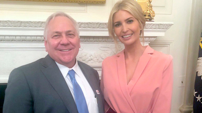 KCTCS PRESIDENT DR. JAY BOX posed for a photo with Ivanka Trump, the co-chair of the American Workforce Advisory Policy Board that held its first meeting at the White House last Wednesday, March 6. (Photo submitted)