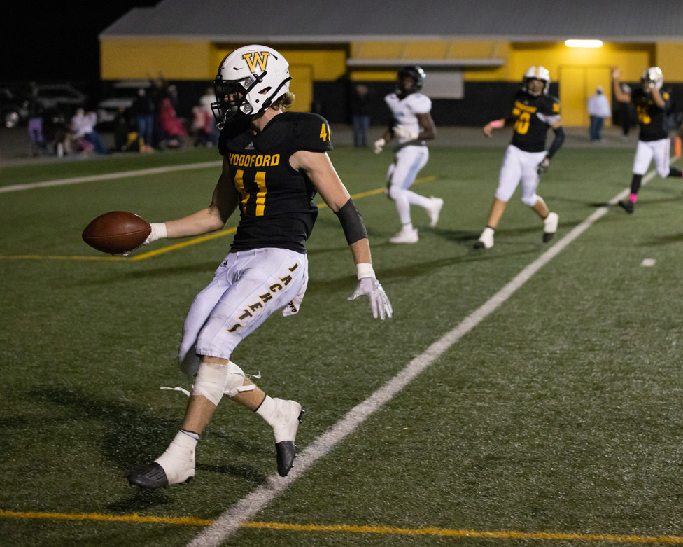 JACKSON GEILEAR was one of several Yellow Jackets who spent time in the Collins' end zone last Friday at Community Stadium, as the Jackets snapped the Titans' five-game winning streak with a 46-29 victory. (Photo by Marshall Imagery)