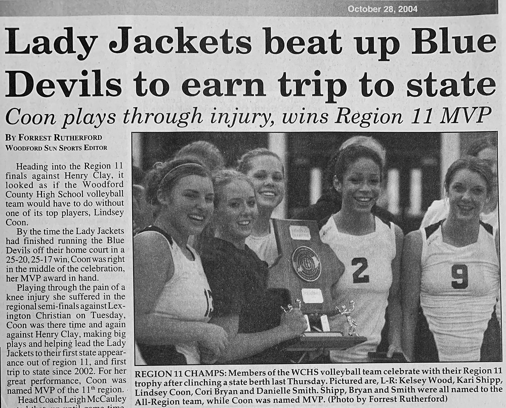 WOODFORD COUNTY HIGH SCHOOL has not advanced to a volleyball state tournament since 2004. The '04 team was featured front and center in the Sun following its 11th Region championship win.