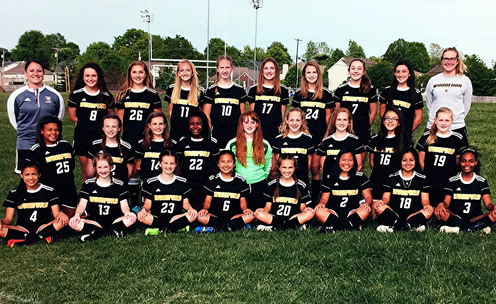 THE WOODFORD COUNTY MIDDLE SCHOOL girls' soccer team finished one of the school's best seasons with a 6-2-2 record, with eight shutouts and a third-place finish in the Bluegrass Conference. Team members shown above are: bottom row, from left, Graciela Martinez, Madison Ryker, Abby Dorough, Luna Woo, Emily Vieyra, Dorrah Martin, Victoria Caloca, and Lane Call; middle row, Olivia Smith, Danny Jackson, Myrion Campbell, Caylee Thompson, Anna Beth Hawkins, Kendall Spalding, Adriana Santos and Ella Tucker; back row, Abby Baylor (head coach) Akasha Hawkins, Morgan Warder, Kaedynce Dewar, Reagan Cole, Meghan Denton, Abigail Wooten, Carla Favetto, Makenzie Terry and Elena Hitch (assistant coach).