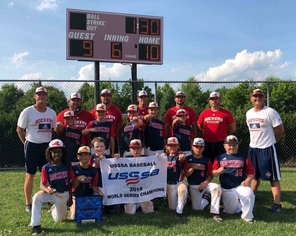 THE KENTUCKY ROCKERS 10U team won the USSSA World Series in Kingsport, Tn June 24. Pictured from left: front, Aaron Campbell, Gavin Banks, Colin Darragh, Braxton Hensley, Brady Wasik, J.B. Martin, Will Heichelbech; middle row,  Phearson Oepping, Cody Decker, Jack Kincaid, Jonah Branham, Ryan Cecil; back row, Barry Hartley, Jason Heichelbech, J.J. Martin, Eric Banks, Doug Hensley, Jason Decker, Kaleb Hartley. (Photo submitted)