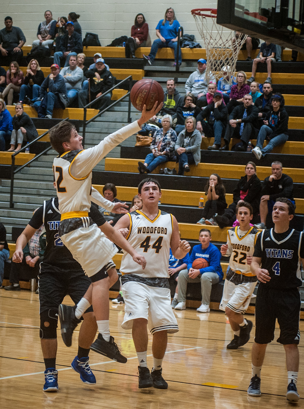 BRIAN WHITE glides to the rim for a layup in Woodford County Middle School's 8th grade game against Royal Springs on Monday, Nov. 13. (Photo by Bill Caine)