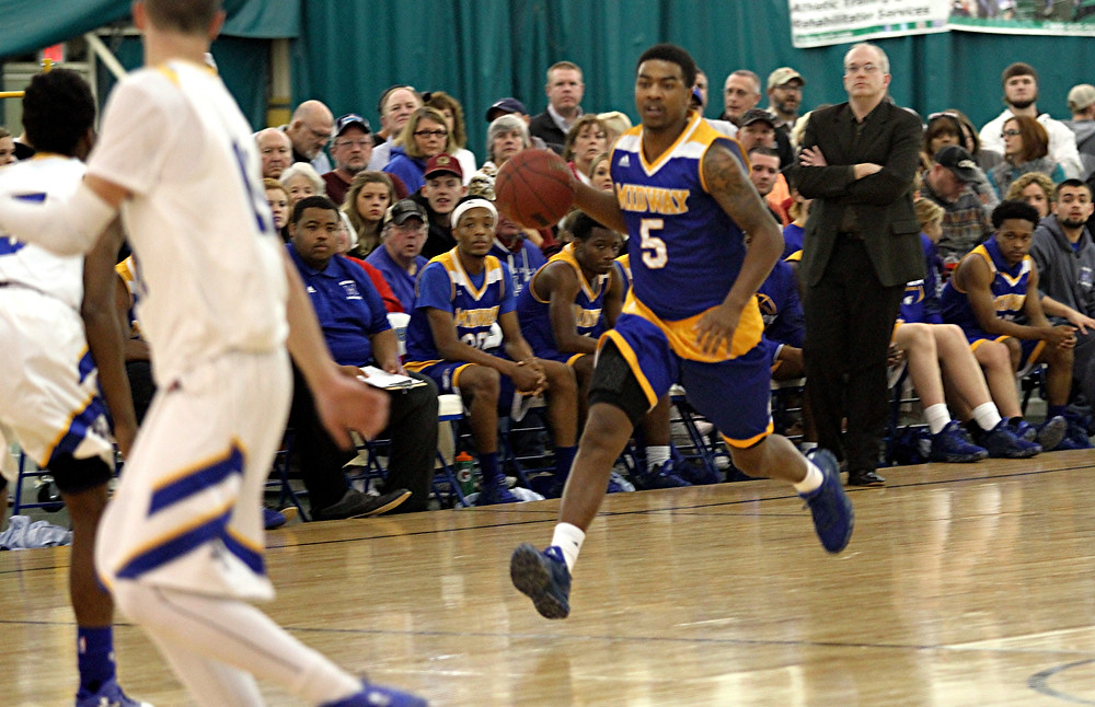 BRYSON HARRIS a senior guard on the Midway University men's basketball team, led the Eagles with a team-high 16 points at home against Indiana University Kokomo on Saturday, Dec. 17. Despite his efforts, IU Kokomo won the game, 64-41. (Photo courtesy Midway Univ. Athletics)