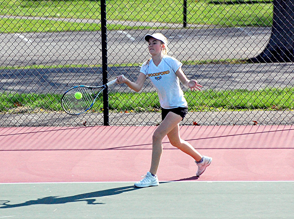 ADDISON BECK, shown in a match earlier this season, won her match against Tates Creek on Tuesday, April 5, to help the Woodford County High School girls' tennis team defeated the Lady Commodores, 6-1. (Photo by Rick Capone)