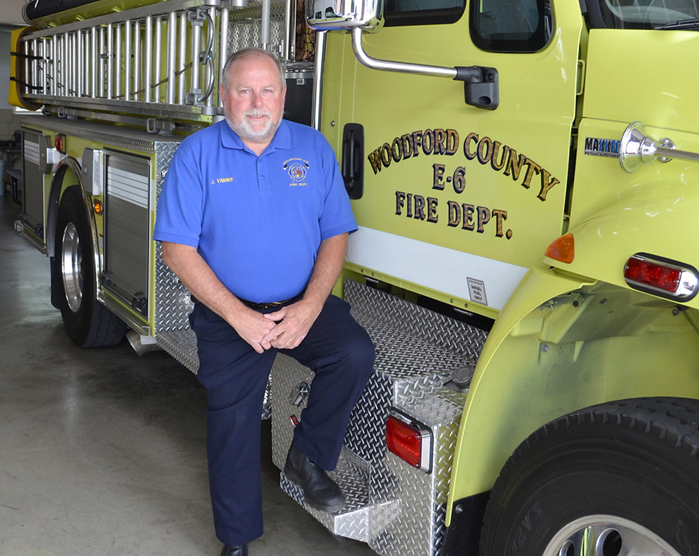 FIRE CHIEF John Varner started volunteering with the Woodford County Fire Department at its Station No. 4 north of Midway. A new four-bay fire station and training center will replace the existing station by the end of November if the project remains on schedule, he said. (Photo by Bob Vlach)