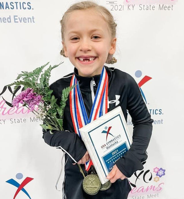 ALEXANDRA HUDSON of Agility Gymnastics finished first in her age division for all events and all-around in the recent State Level 2 championships. (Photo submitted)