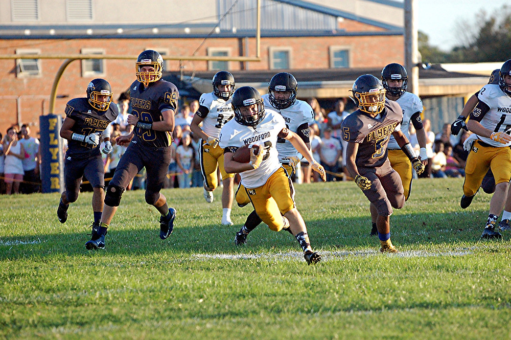 CLAYTON BERGER had a number of good kick returns for the Woodford County High School football team against Franklin County on Friday, Sept. 2. To date, the freshman has returned three kicks for 99 yards for a 33.0 return average. His longest was 43 yards. (Photo by Rick Capone