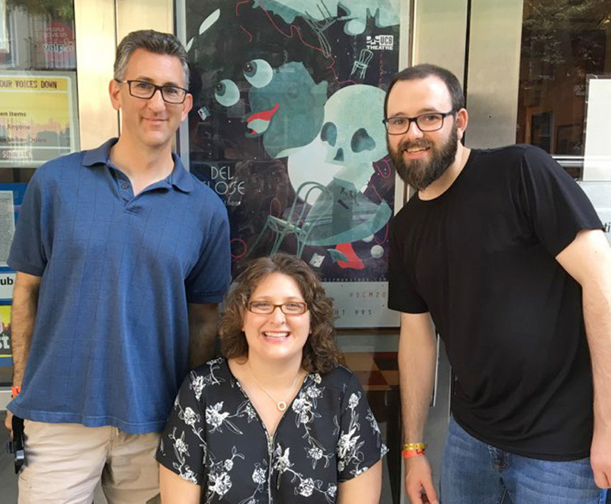 JEFF SHERR, Karen Marsee and Paul Hartsell, right, traveled to New York City recently to perform in the Del Close Marathon improvisational comedy festival. Sherr's daughter, Abby, joined him on the trip, which gave him an opportunity to perform in a small theatre on 42nd Street. (Photo submitted)