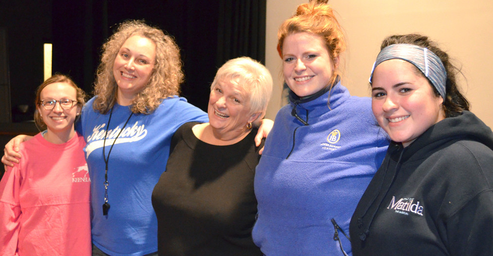 """DURING A BREAK at a rehearsal for Woodford Theatre's """"Nunsense"""" in 2017, Versailles actor Melissa Rae Wilkeson, second from the left, was joined by cast members Kelli Jo Crawford, Patricia O'Neill, Jessica Pearl French and Maddy Williamson. (File photo by Bob Vlach)"""