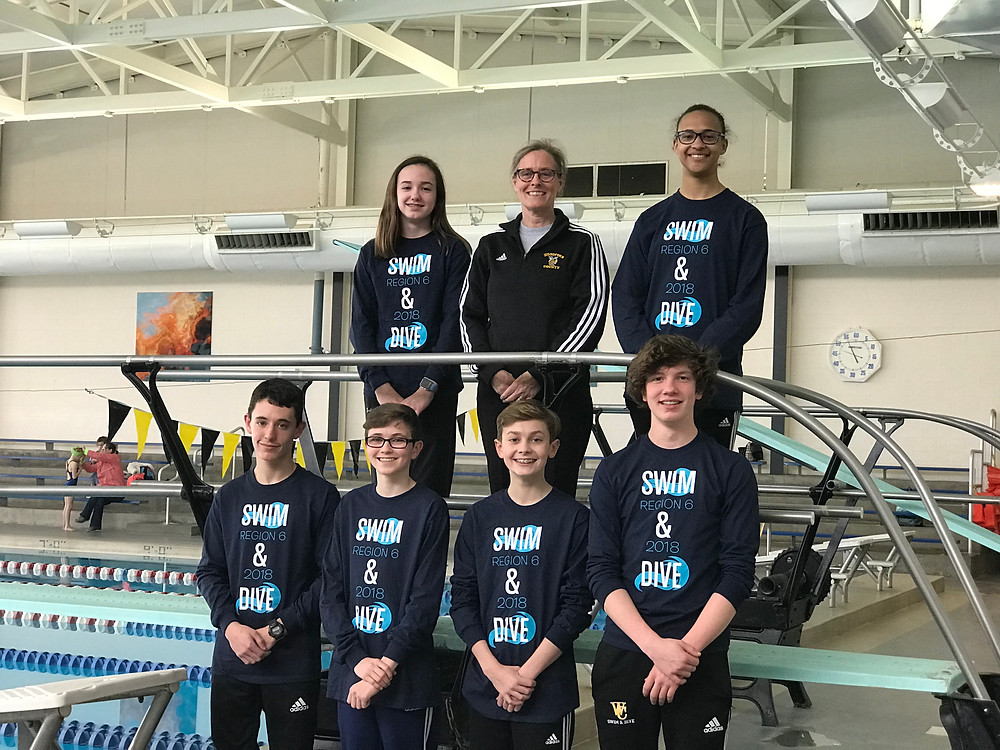 THE WCHS SWIM TEAM competed at the KHSAA State Championship on Feb 22-24 at the University of Louisville. Front row from left: Katie Gatewood, Emma Oberlander, Laura Crutchfield, Maddie Gatewood and Olivia Damm. Back row from left: Isaac Tonges, Luke Gardner, Riley Gardner, Clay Lewis, Will Fisher and Xavier Moore. Not pictured: Cole Janzow. (Photo submitted)