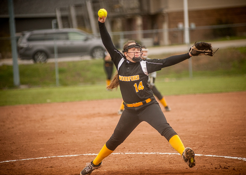 WCMS EIGHTH-GRADER KRISTYN MURPHY pitched four innings while allowing one earned run on three hits and striking out one in the Lady Tigers win over Anderson County on Tuesday, April 10 at WCMS. (Photo by Bill Caine)