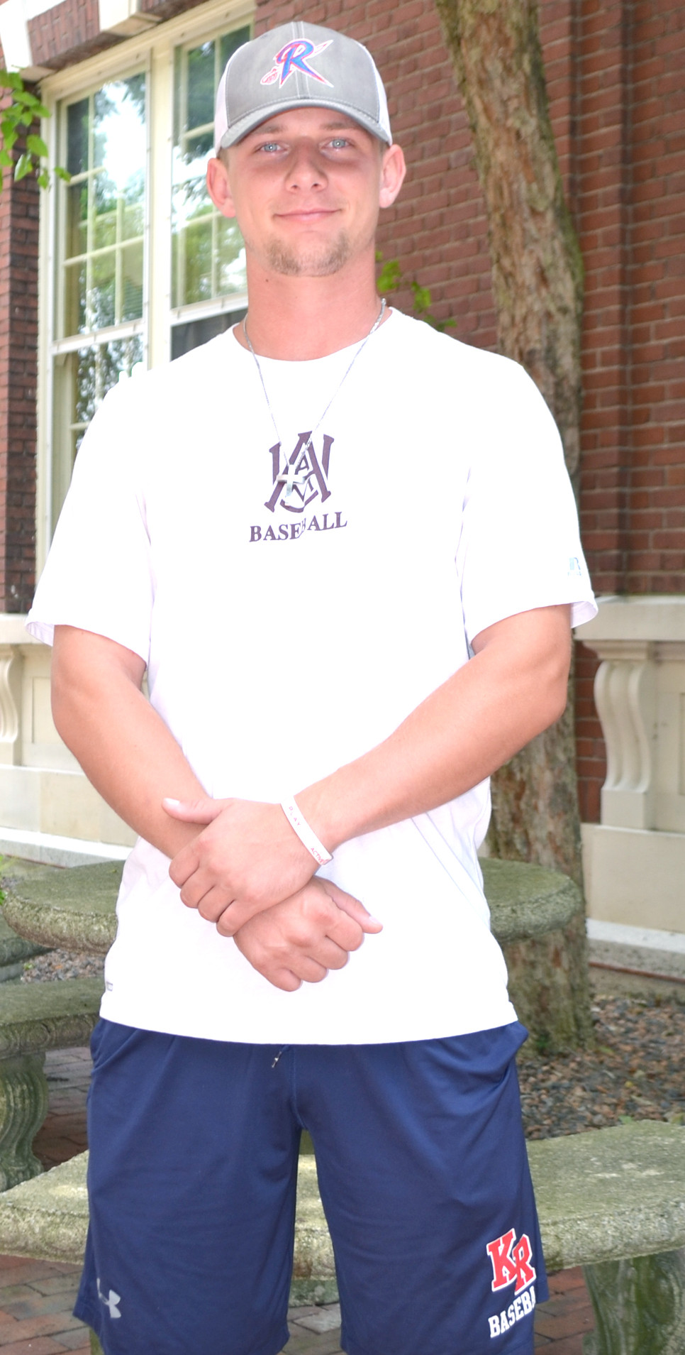 J.T. O'REEL hopes to continue playing baseball in an independent professional league. The Woodford County High School graduate is pictured wearing shorts from his past as a Kentucky Rocker, a shirt from playing at Alabama A&M and a cap from his junior college days at Roane State. (Photo by Bob Vlach)