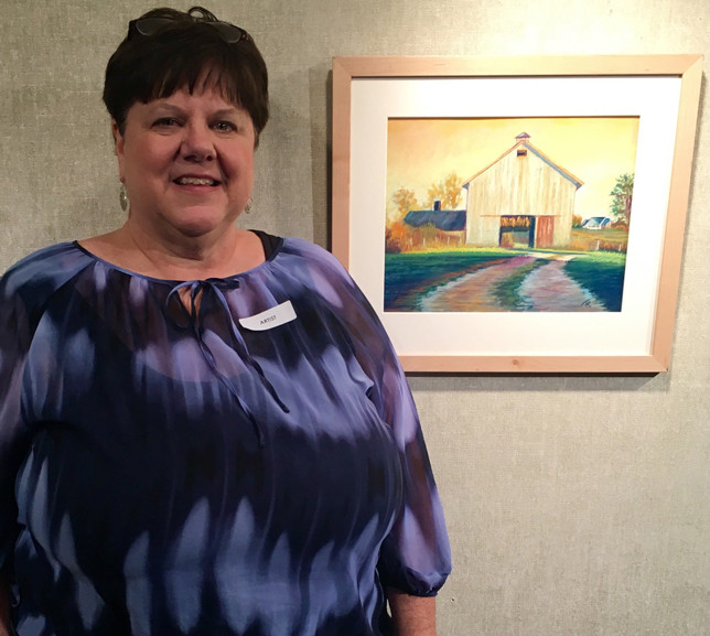 """FRAN REDMON, a Woodford County native, took a picture of this tobacco barn in rural Franklin County and painted it. """"In For The Cure"""" is one of 29 paintings hung in the Capitol Rotunda as part of the annual Governor's Derby Exhibit. (Photo submitted)"""