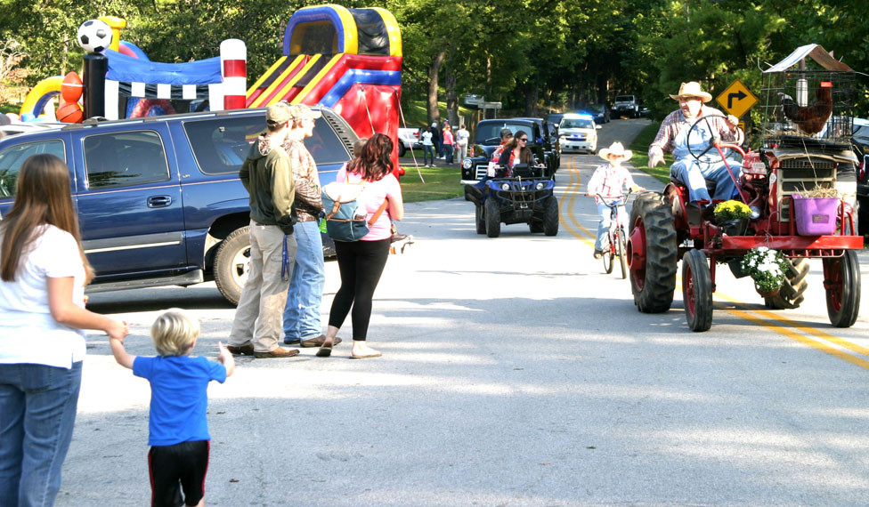 THE PARADE at Millville's Hillbilly Daze festival is one of the highlights of the annual event, featuring antique vehicles, tractors carrying chickens, and other colorful entries. The 38th annual Hillbilly Daze begins Saturday morning at 9 – but plenty of folks arrive early. (2017 photo by John McGary)