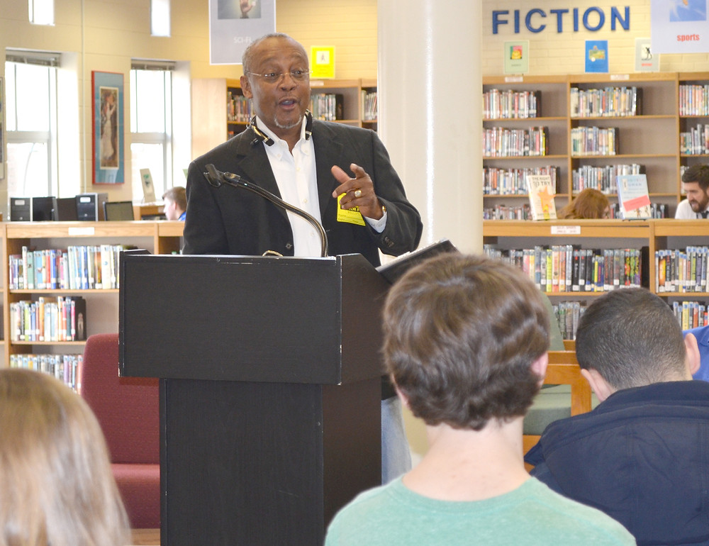 DONALD MORTON, a member of the Woodford County Cemetery Preservation Board, talked to students about the history of Huntertown, an African-American community, last Thursday morning, Feb. 18, at Woodford County High School. (Photo by Bob Vlach)
