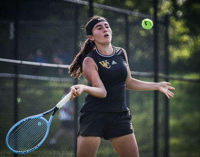 CLAIRE PINKSTON battled her way into the third round of the state tournament before being eliminated on day two. Additional photo on page 9. (Photo by Bill Caine)