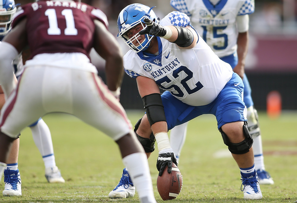 DRAKE JACKSON readies to snap the ball in a matchup against Mississippi State earlier this season. (UK Athletics Photo)