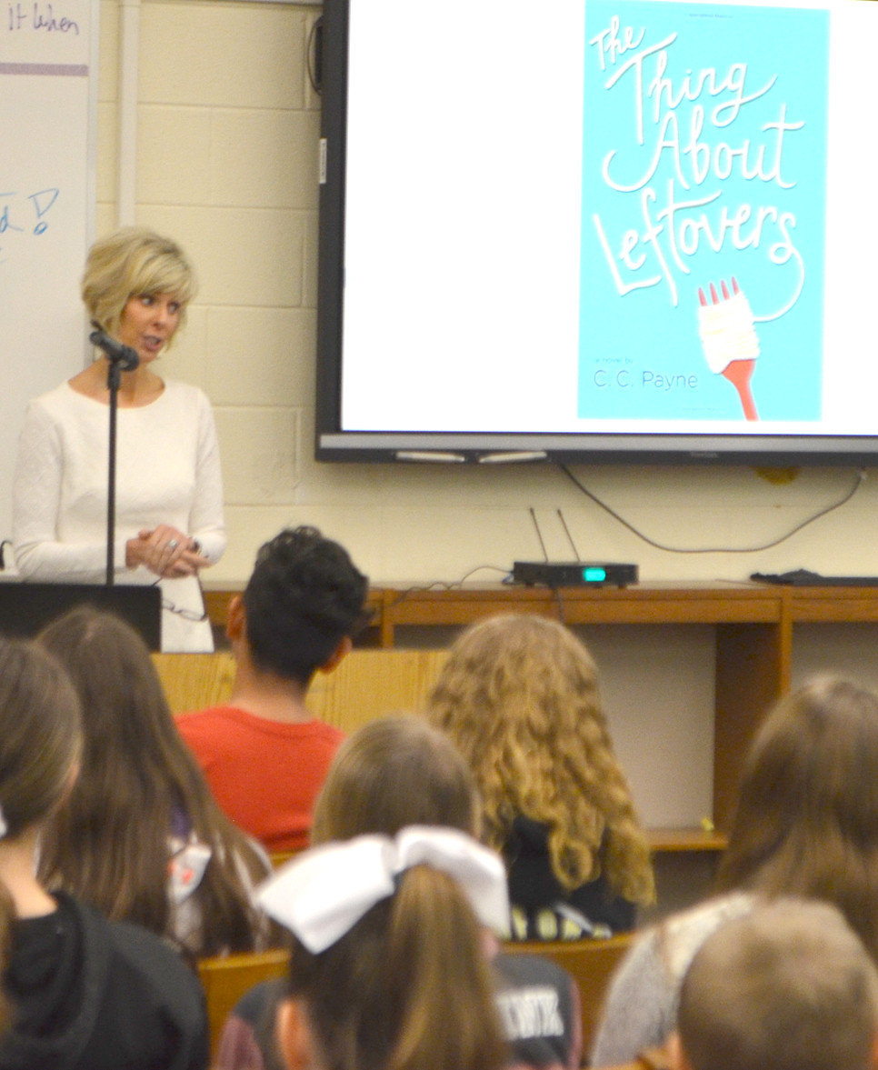 """C. C. PAYNE, a Kentucky Bluegrass Award-winning author, spoke to students at Woodford County Middle School April 26. """"There are no shortcuts,"""" she told students. """"We become excellent by doing. Because I kept on writing, I got a little better at it."""" (Photo by Bob Vlach)"""