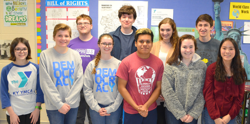 WCHS STUDENTS, from left, Sarah Potts, Kate Moran, Aaron Collings, Abigail Mortell, Logan Craig, Emmanuel Hernandez, Abigail Cheek, Sophie Edelen, Chandler McFarland and Rachael Vascassenno participated in the Kentucky United Nations Assembly (KUNA) in Louisville. Not pictured, but also participating in KUNA, were Ryan Alvey, Eva Bijl, Tony Brock, Maggie Carney, Laura Crutchfield, Ginny Gregory, Ginny Hallman, Catie Heerman, Ulises Hernandez, Micah Lynn, Allison Miller, Caroline Miller, Saige Miracle, Claire Pinkston, Adie Preston, Olivia Raybourne, Parker Raybourne and Kristen Taylor. (Photo by Bob Vlach)