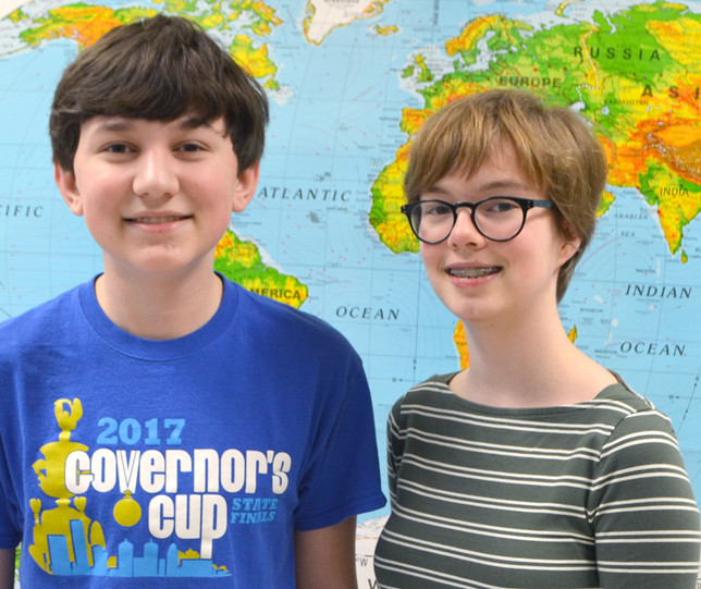 BRYANT CRAIG and Maia Smith, eighth-grade students at Woodford County Middle School, earned top-10 finishes at the 2018 Kentucky Governor's Cup state finals. Bryant was fifth in science written assessment, while Maia was seventh in arts and humanities. (Photo by Bob Vlach)