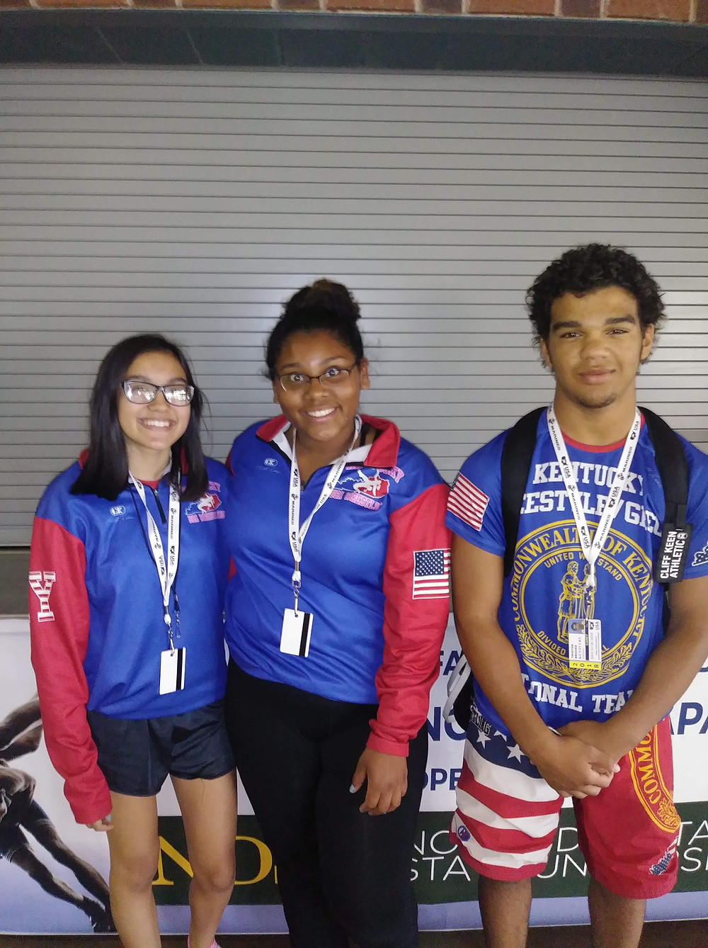 THREE WCHS WRESTLERS competed at the Fargo Dome in the US Marines and Cadet National Championship. From left, Ashley Courtney, Mequioa Bernabe and Triston Brooks. (Photo submitted)