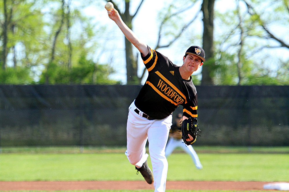 PARKER THOMAS started for Woodford against district rival Franklin County at home on Wednesday, April 20, and pitched a gem to help the Bat Jackets get a 3-2 win. (Photo by Steve Blake/multiexposures.com)