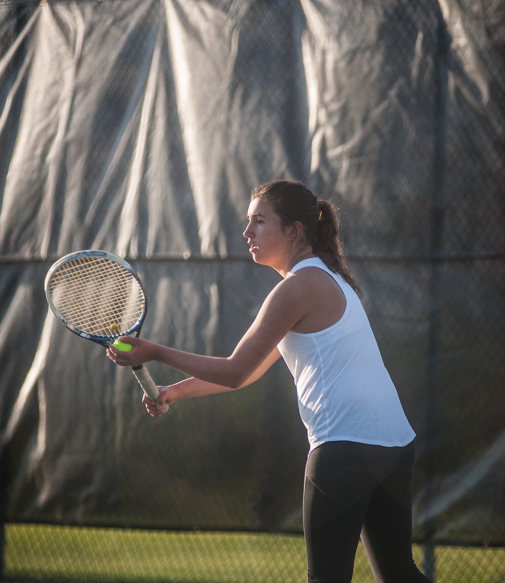 WCHS FRESHMAN CLAIRE PINKSTON, pictured earlier this season, advanced to the semifinal of the John Harnice Invitational in Frankfort on Saturday, April 21. (Photo by Bill Caine)