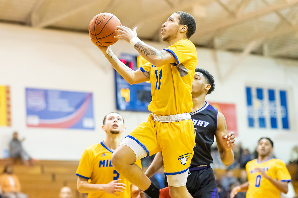 DONNIE MILLER, a sophomore from Newport, Ky., scored a game-high 27 points and the go-ahead three to help lift the Eagles to an 80-77 win over Oakland City University in Midway University's home opener Saturday, Jan 9. (Photo by Mark Mahan)