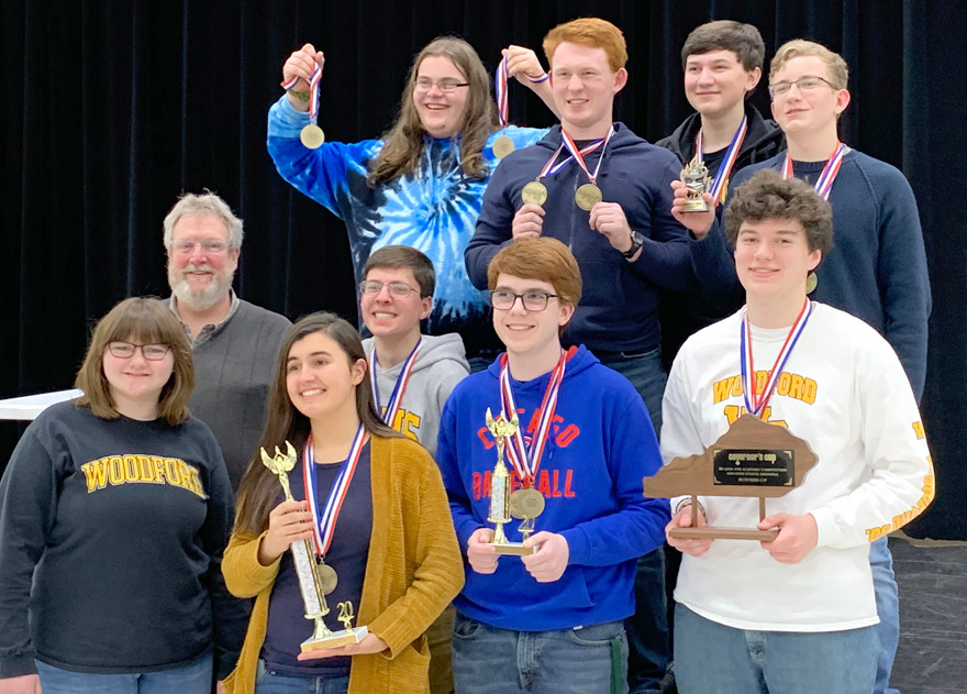 WCHS FINISHED SECOND OVERALL in recent Region 11 Governor's Cup competition. The WCHS quick-recall team finished first and eight students placed in the top-five in written assessment to advance to the Governor's Cup state finals. From left, back, are Alfie Painter (second in social studies), Cayce Jones (fifth in arts and humanities), Bryant Craig (fifth in science) and Keaton Martin (first in arts and humanities and second in language arts); front are Reida Harrod, Coach Ken Tonks, Claire Pinkston (first in language arts), Trevor Wells (fifth in social studies), Derek Forte (second in math) and Logan Craig (tied for third in science and fourth in social studies). (Photo submitted)