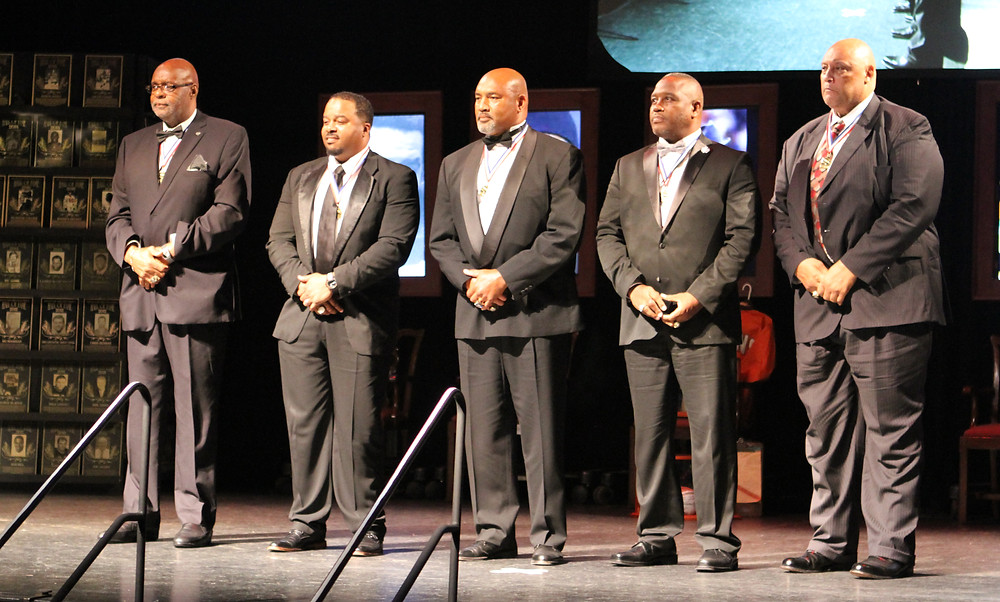 SIX NEW MEMBERS were inducted into the Kentucky Pro Football Hall of Fame in a ceremony held in Lexington on Thursday and Friday, June 23 and 24. The 2016 inductees are, from left, Warren Bryant, Myron Guyton, Dermontti Dawson, Ray Buchanan  and Council Rudolph. Blanton Long Collier was inducted posthumously. (Photo by David Stephens)
