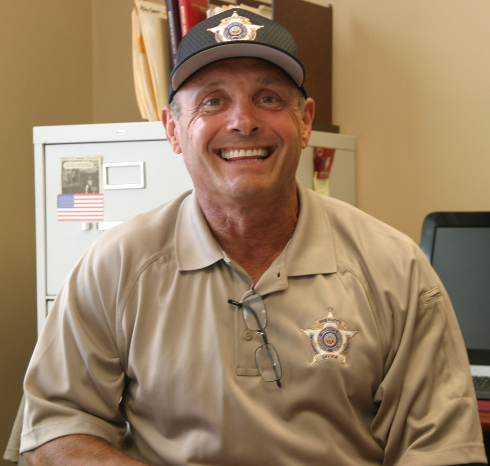 NEW SHERIFF IN TOWN: Former VPD Chief Johnny Wilhoit will fill the unexpired term of his predecessor, Woodford Sheriff Wayne Wright. He was appointed by Woodford Judge-Executive John Coyle on Monday. (Photo by John McGary)