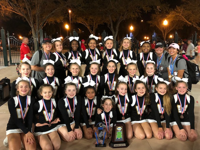 THE WCMS CHEERLEADER finished third at the national cheerleading championship at Disney World on Sunday, Feb. 11 and finished fifth in the world championship. (Photo submitted)
