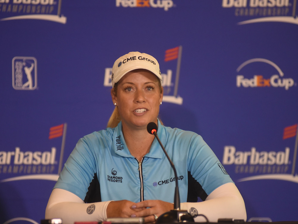 LPGA TOUR PLAYER BRITTANY LINCICOME held a press conference before the first round of the Barbasol Championship in Nicholasville. She did not make the cut but said it was a great learning experience. (Photo by Bill Caine)